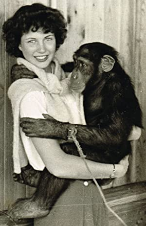 Vintage Photograph of Young Woman Holding a Chimpanzee