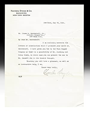 Letter of Introduction from Charles Hayden to J.B. Herreshoff, Jr. (TLS, New York - Boston Bankers)