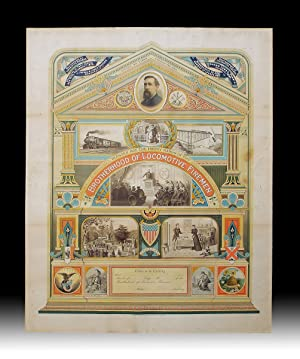 19th Century American Brotherhood of Locomotive Firemen Allegorical Chromolithographic Broadside