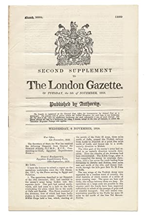 Second Supplement to The London Gazette. Of Tuesday, the 5th of November, 1918. No. 30994 (T.E. L...