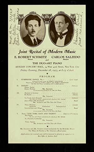 [Concert Handbill - Claude Debussy and Maurice Ravel] 1923 Joint Recital of Modern Music at the A...