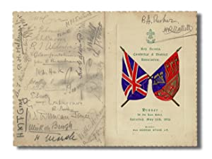 [Hand Colored Dinner Menu w. 30 Autographs] Boy Scouts Cambridge & District Association Dinner at...