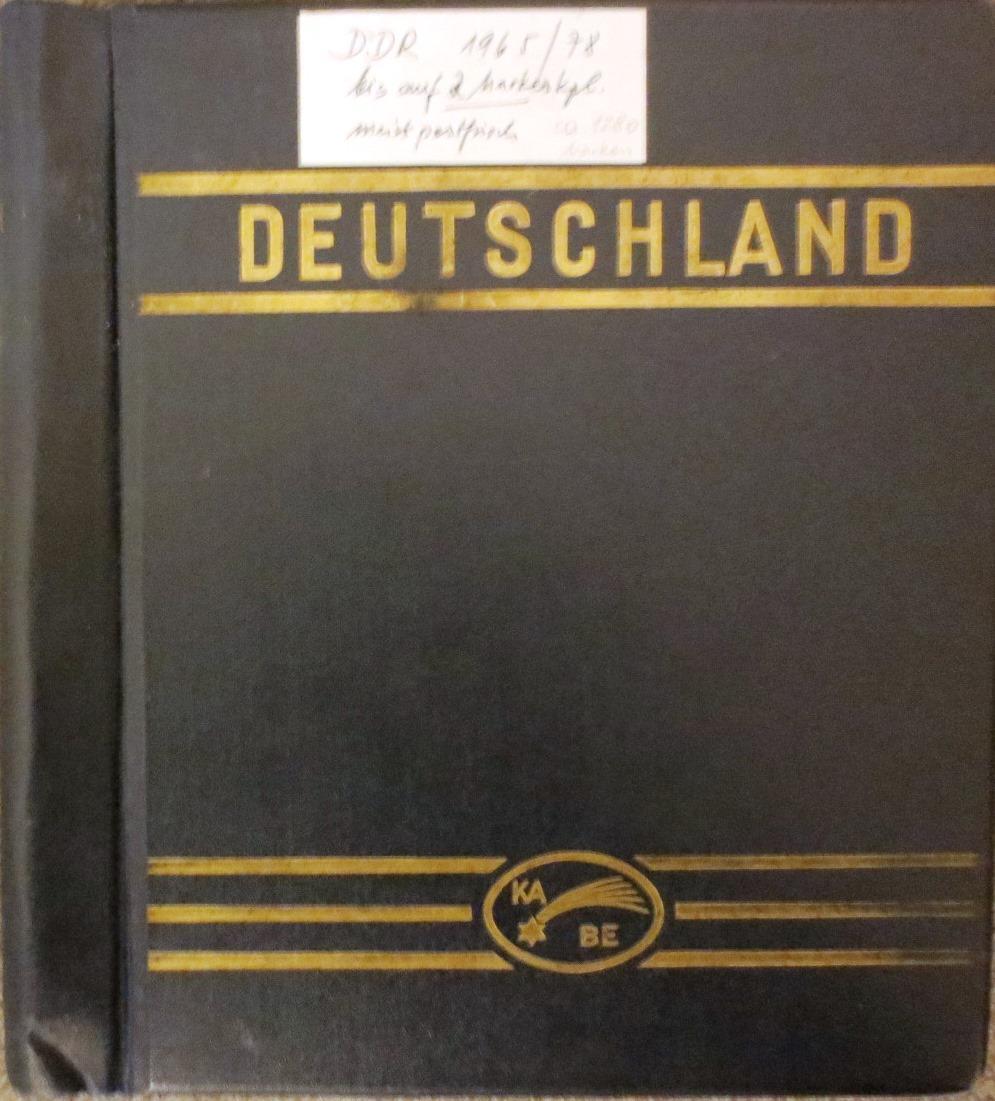 Durchgehende Sammlung DDR-Briefmarken von 1965 bis 1978 in einem KABE (Leuchtturm) - Album. ...