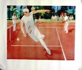 """Im Turnier"""" - Tennisspielerin. Farbplakat von 1929. Offset. Ca. 59x58 cm. Druck für den ..."""