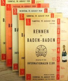 5 Offizielle Rennprogramme (damit komplett) vom 22. August - 30. August 1959.: Rennprogramme) ...