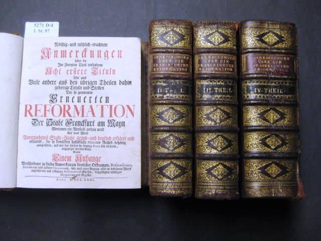 Anmerckungen.Erneuerten Reformation Der Stadt Franckfurt am Mayn.: Orth, Johann Philipp.