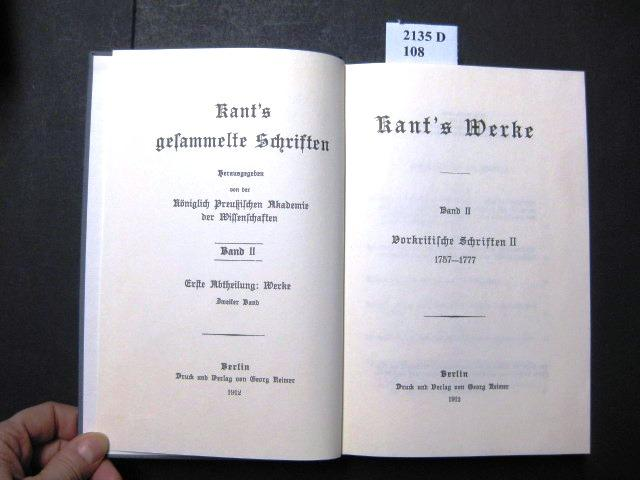 Kant's Werke. Vorkritische Schriften II. 1757-1777.: Kant, Immanuel.