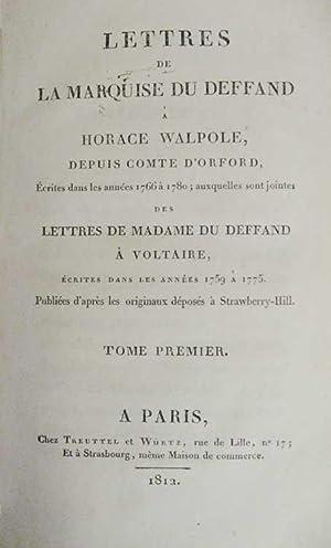 Lettres de la marquise du Deffand à: DU DEFFAND (Marie