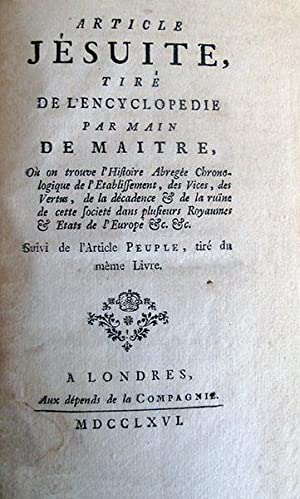 "Article ""Jésuite"", tiré de l'Encyclopédie par Main: DIDEROT (Denis), JAUCOURT"