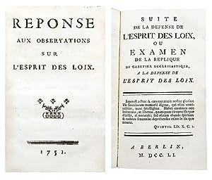1- [RISTEAU (François)]. Réponse aux observations sur: MONTESQUIEU (Charles-Louis de
