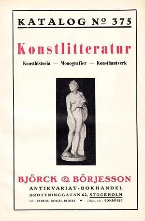 Björck & Börjesson. Katalog No. 375. Konstlitteratur.