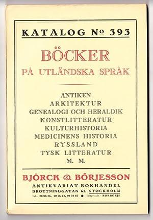 Björck & Börjesson. Katalog No. 393. Böcker