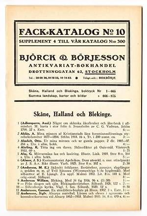 Björck & Börjesson. Fack-katalog No. 10. Supplement