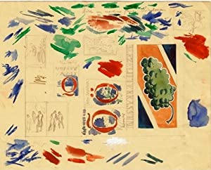 Blad med skisser bl. a. för omslaget: Lybeck, Bertil (1887-1945)