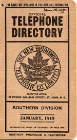 Official Telephone Directory, The New Brunswick Telephone Co. Limited, Southeren Division January...