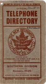Official Telephone Directory, The New Brunswick Telephone Co. Limited, Southern Division January,...
