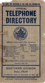 Official Telephone Directory, The New Brunswick Telephone Co. Limited, Southern Division July, 1930