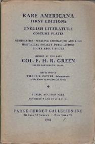 RARE AMERICANA, first editions, English literature, costume plates., Nov.9 & 10, 1943: Parke ...