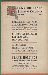 Frank Hollings Bookshop Catalogue: No. 159.; 1929: Frank Hollings Bookshop
