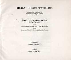 RCHA - right of the line : an anecdotal history of the Royal Canadian Horse Artillery from 1871