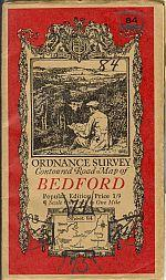 BEDFORD; Ordinance Survey Contoured Road Map of Popular Edition One Inch to One Mile