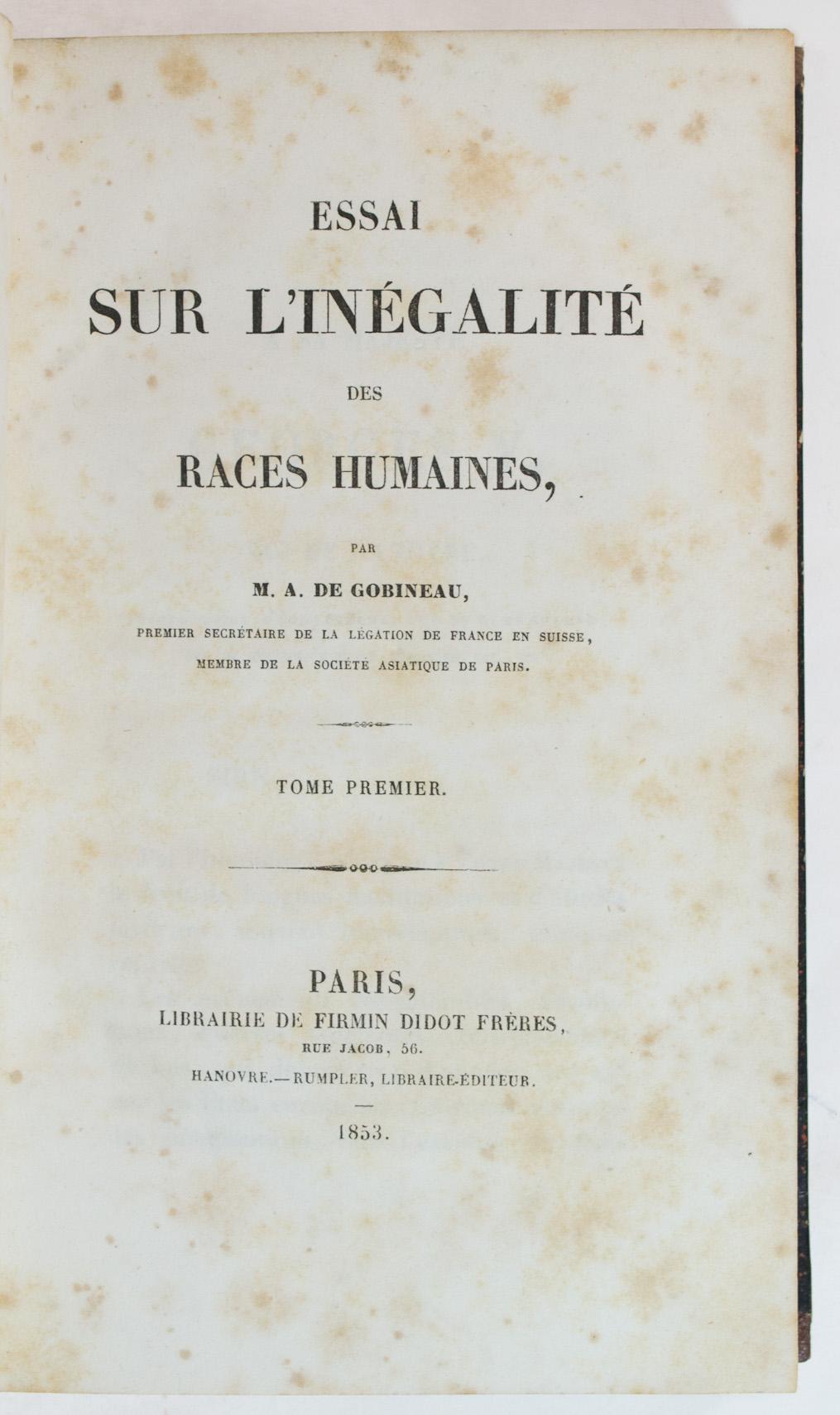 Joseph arthur gobineau essay on the inequality of the races