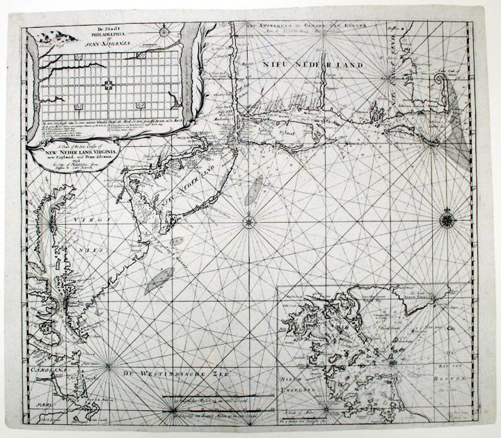A Chart of the Sea Coasts of New Neder Land, Virginia, New-England, and Penn-Silvania, With the ...