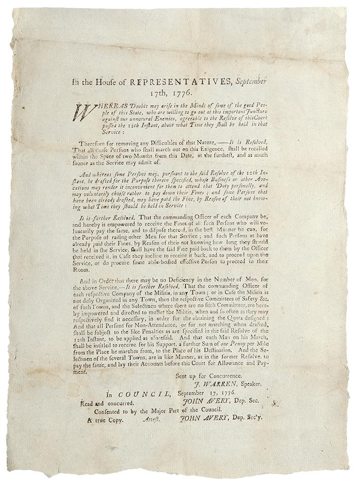 In the House of Representatives, September 17th, 1776. Whereas Doubts may arise in the Minds of ...