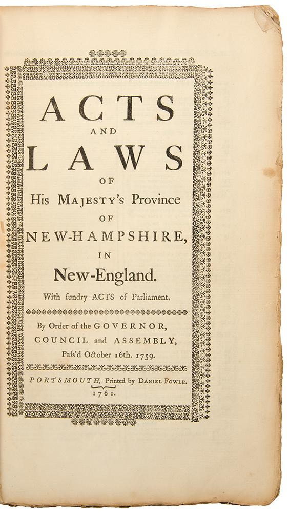 Acts and Laws of His Majesties Province of New-Hampshire in New-England. With Sundry Acts of ...