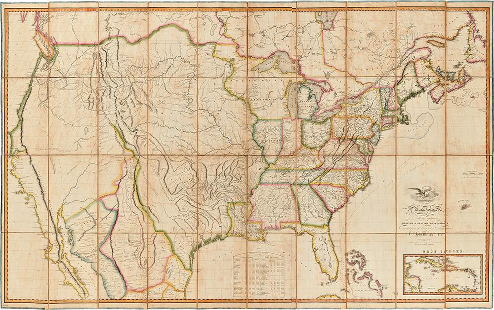 Map of the United States with the contiguous British and Spanish Possessions Compiled from the ...