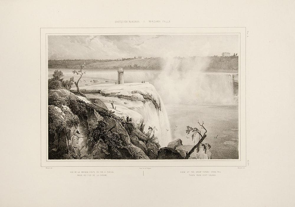 Chutes du Niagara. Niagara Falls . Sketched from Nature in March 1837 by A. Blouet. Drawn on stone ...