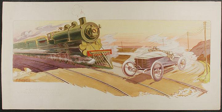 Coupe Vanderbilt / Le Match Gabriel -- Long-Island Railroad, au passage a niveau d'Hicksville GAMY MONTAUT
