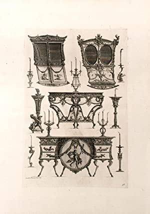 "Plate of neo-Classical designs for one furniture and candlestick, and a sedan chair, from ""..."