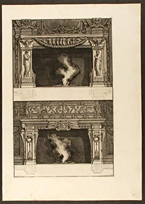 """Plate of two neo-Classical fireplaces, from """"Diverse maniere d'adornare i cammini ed ogni..."""