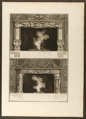 "Plate of two neo-Classical fireplaces, from ""Diverse maniere d'adornare i cammini ed ogni..."