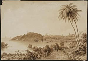Grenada] Original signed pencil and wash drawing of the capital of Grenada, St. Georges (Fort ...