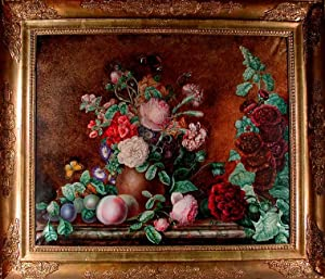 A still-life of flowers in an unglazed earthenware pot, fruit and flowers strewn on the ledge aro...