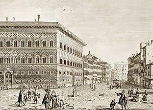 Veduta del Palazzo del Sigre. Principe Strozzi, e della Strada che conduce al Ponte a S. Trinita. ...