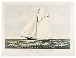 "A ""crack"" sloop in a race to: CURRIER & IVES"