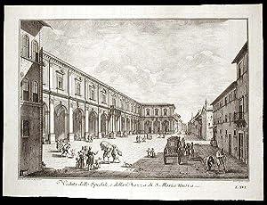 Veduta dello Spedale, e della Piazza di: ZOCCHI, Giuseppe (1711-1767)