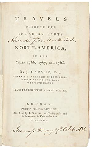 Travels through the interior parts of North America, in the years 1766, 1767, and 1768: CARVER, ...