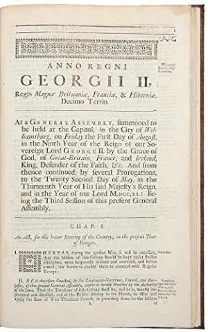 Consecutive run of session laws from August 1734 through May 1742]: VIRGINIA, General Assembly