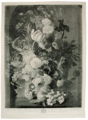 [A Flower Piece with vase, bird's nest in niche; & A Flower Piece with vase, peaches and grapes i...