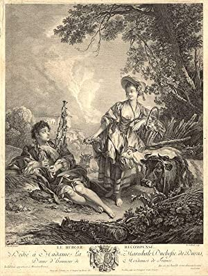 Le Berger Recompensé [The Shepherd Repaid]: BOUCHER, François (1703-1770) engraved by Robert...
