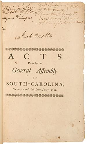 Acts Passed by the General Assembly of South-Carolina, at a sessions begun to be holden at ...