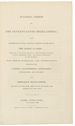 Standing Orders for the Seventy-Ninth Highlanders