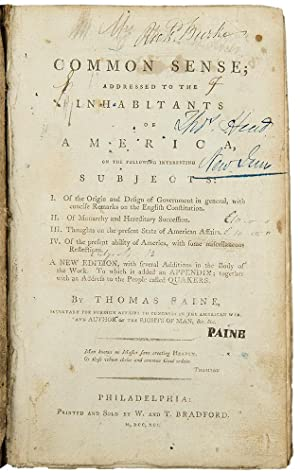 [Sammelband of six works by Paine, including a printing of Common Sense]
