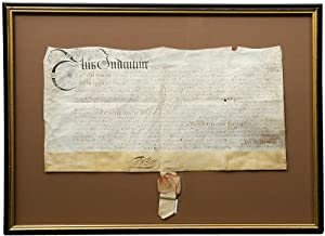 Manuscript vellum document signed by William Penn, granting five hundred acres of land in Pennsyl...