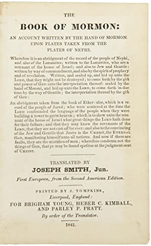 The Book of Mormon . translated by Joseph Smith, Jun. First European, from the Second American Ed...