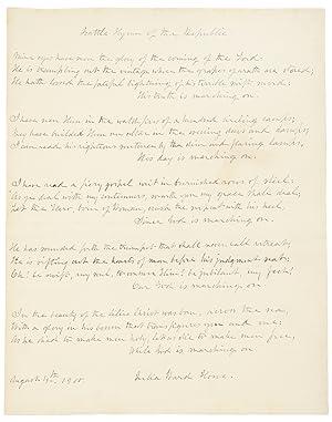 Autograph manuscript signed, the complete five stanzas: HOWE, Julia Ward